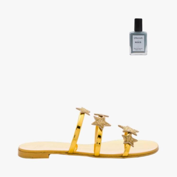 Желтые сандалии Giuseppe Zanotti, лак для ногтей J. Hannah Isla