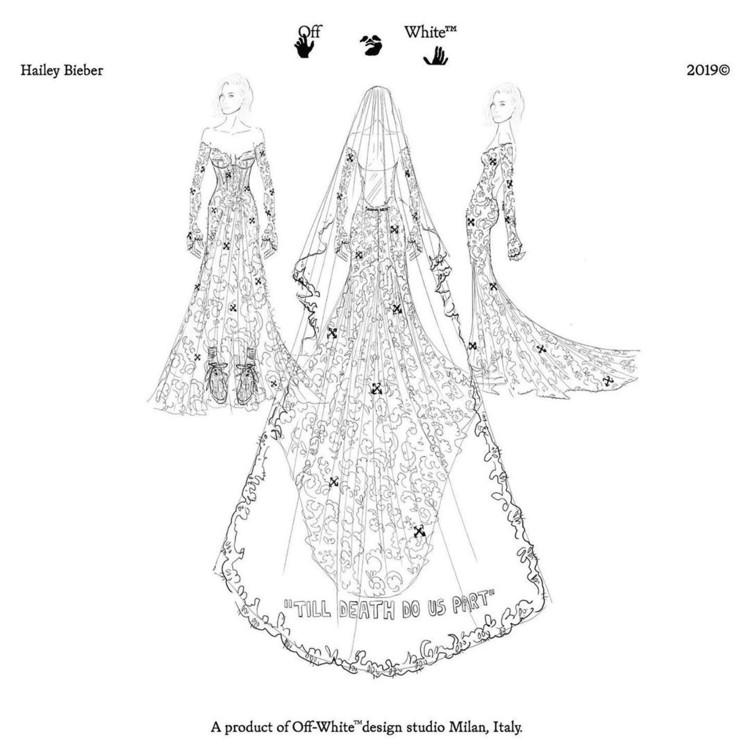 Ескіз весільної сукні Вірджила Абло для Гейлі Бібер