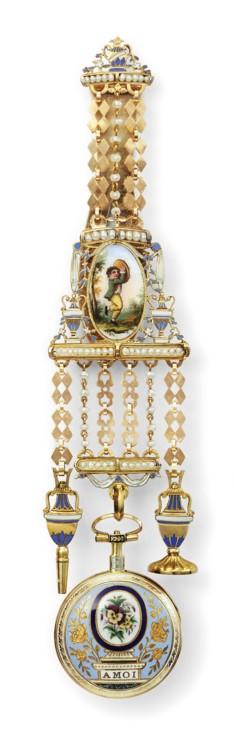 Часы с эмалью на шатлене Cartier, Париж, 1876 г. Декоративные элементы из золота и эмали (шатлен), эмаль, жемчуг Коллекция Cartier