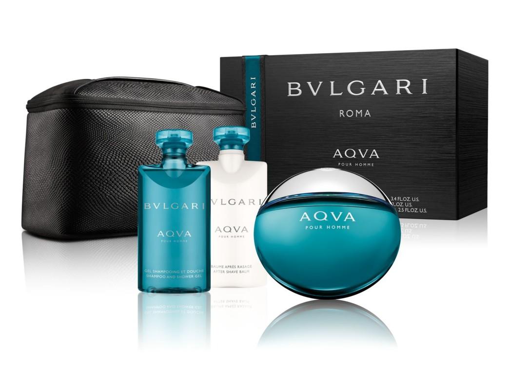 Мужской подарочный набор Bulgari Aqua: шампунь и гель для душа, бальзам после бритья, туалетная вода и несессер, все – Bulgari