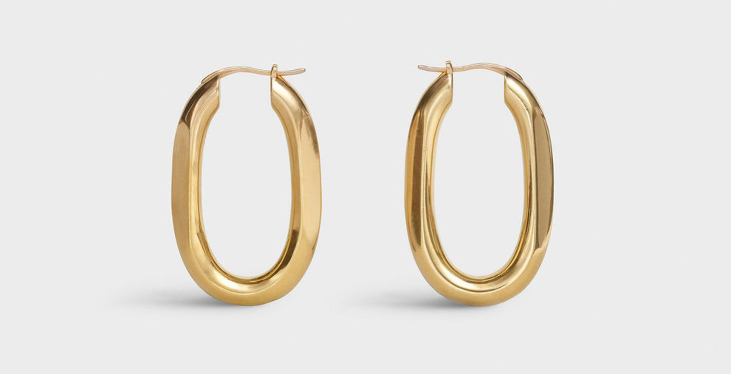 CHAÎNE TRIOMPHE SMALL HOOPS IN BRASS WITH VINTAGE GOLD FINISH