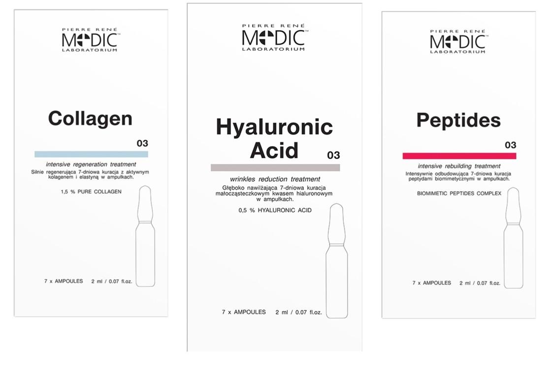 Комплекс средств с пептидами, коллагеном, гиалуроновой кислотой, Pierre Rene Medic Laboratorium (в ампулах)