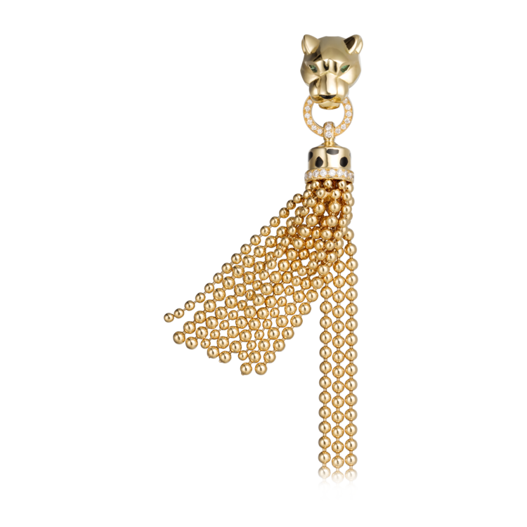 Браслет Panthère de Cartier: желтое золото, черный лак, оникс, гранаты-цавориты, бриллианты