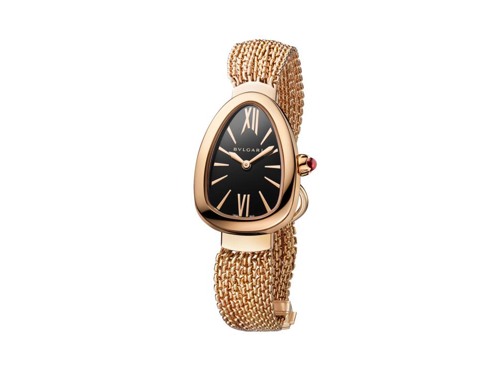 Часы Serpenti Twist, корпус и ремешок из розового золота, эмалированный циферблат, BVLGARI