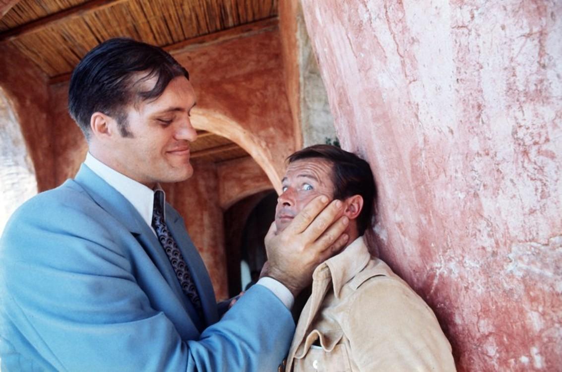 Річард Кіл і Роджер Мур на зйомках фільму «Шпигун, який мене кохав», 1976