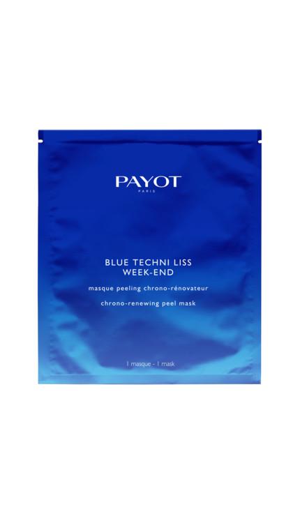 Тканинна маска-пілінг Blue Techni Liss Week-End, Payot, з екстрактом шавлієвого дерева і гліколевої кислоти оновлює шкіру і захищає її від шкідливого випромінювання гаджетів.