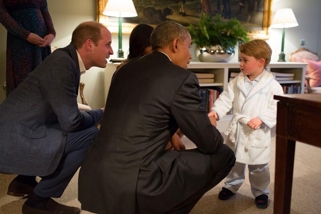 Встреча принца Георга с президентов США Бараком Обамой