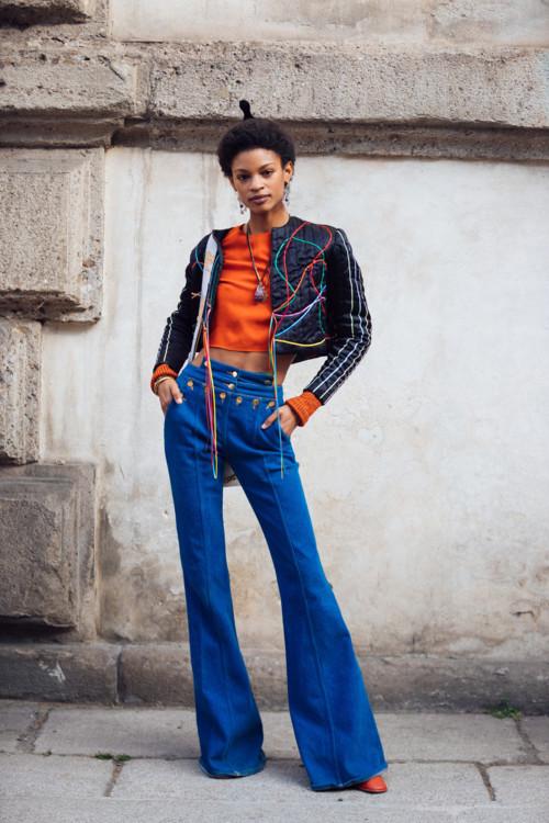 Модель Тереза Хайес во время Недели моды в Милане, февраль 2020