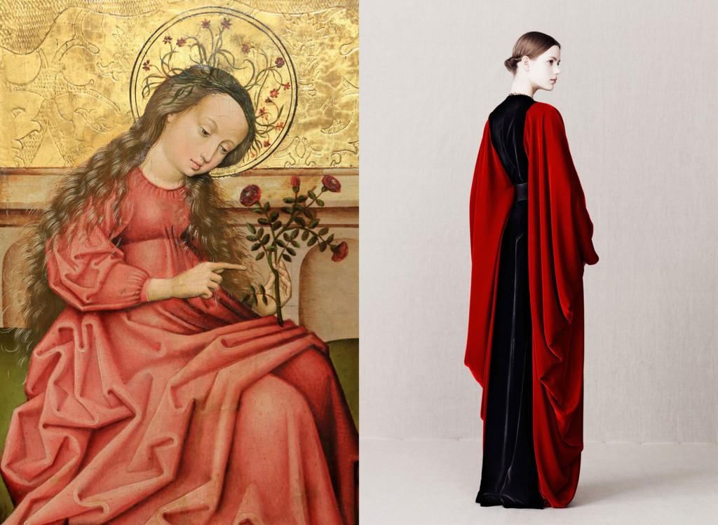 """Мадонна з трояндами"", 1460–1470; Alexander McQueen Pre-Fall 2013"