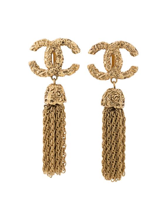 Золотистые металлические серьги с бахромой CC, Chanel Vintage