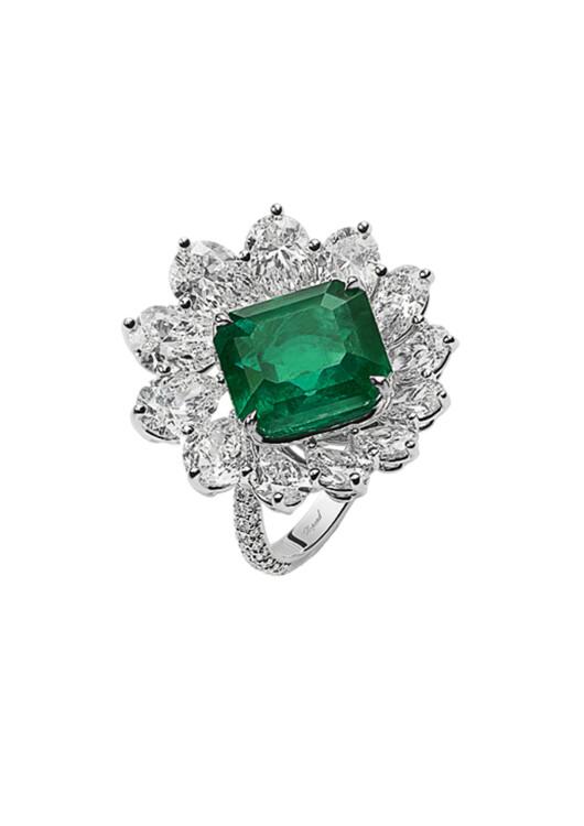 Перстень, золото, діаманти, смарагд, Chopard Red Carpet