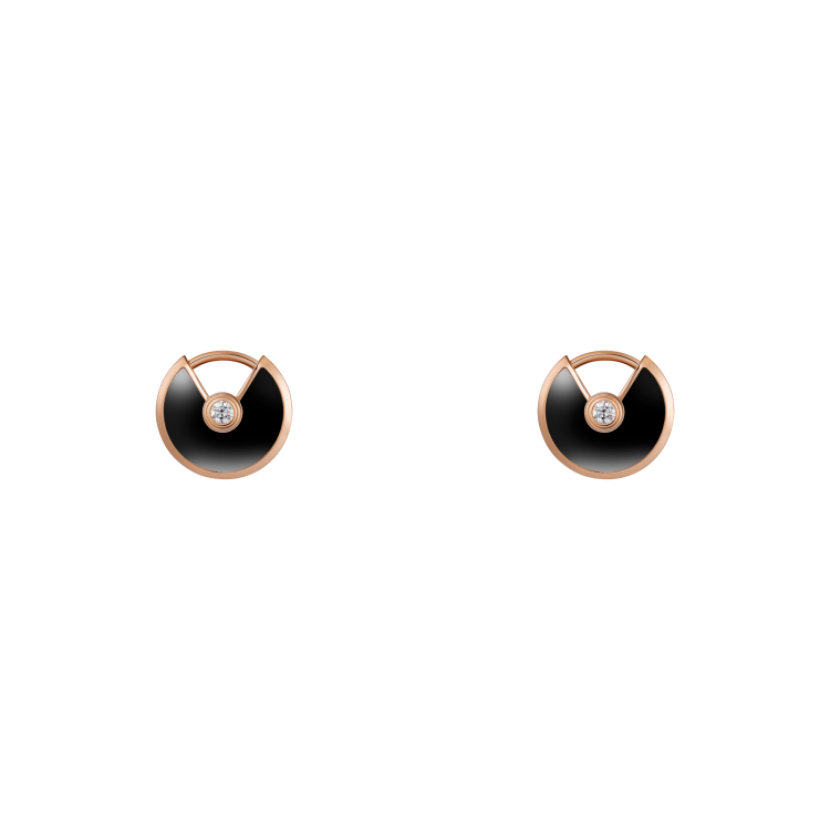 СЕРЬГИ-ПУСЕТЫ AMULETTE DE CARTIER, МОДЕЛЬ XS, розовое золото, оникс, бриллианты