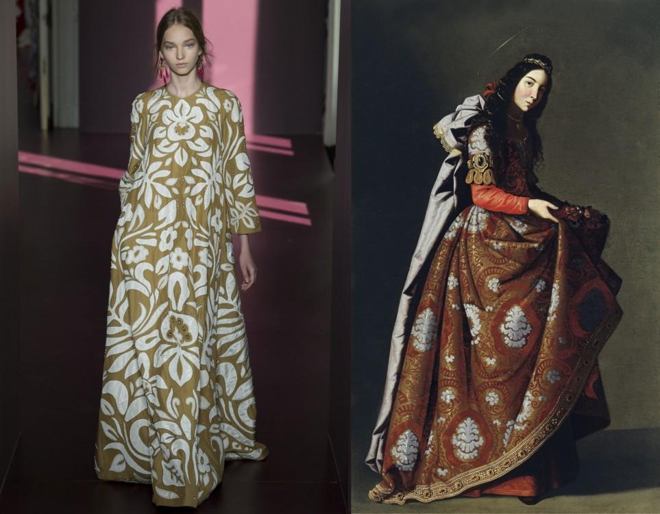 "Valentino Couture осінь-зима 2017/2018; ""Касільда Сарацінка"", Франсиско де Сурбаран, 1630-1634"