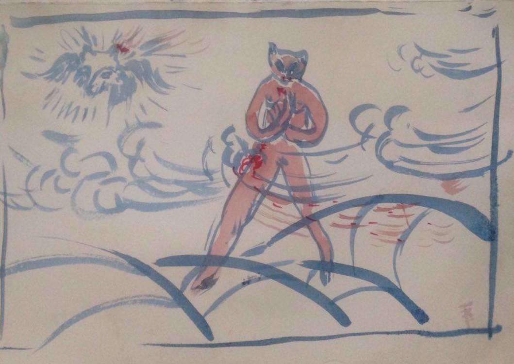 """Эксиз живописи """"Котик раненый идет, ушко песика грызет"""", 1989, вариант"""
