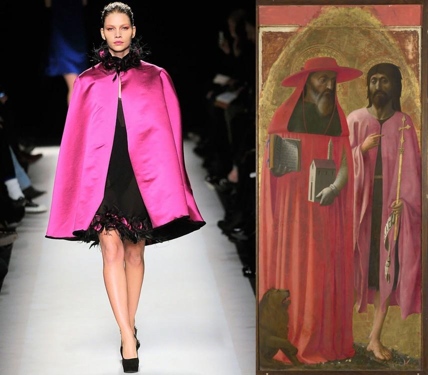 Saint Laurent осень-зима 2010/2011; «Святые Иероним и Иоанн Креститель», Мазаччо, 1428–1429