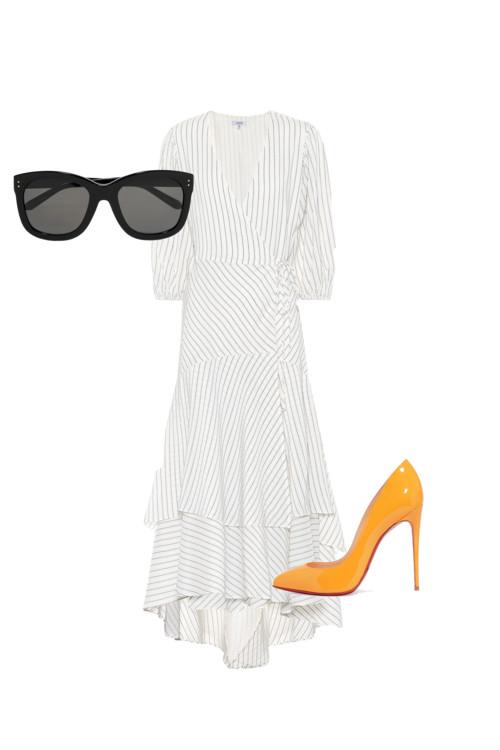 Очки, Linda Farrow. Белое платье, Ganni. Босоножки, Christian Louboutin