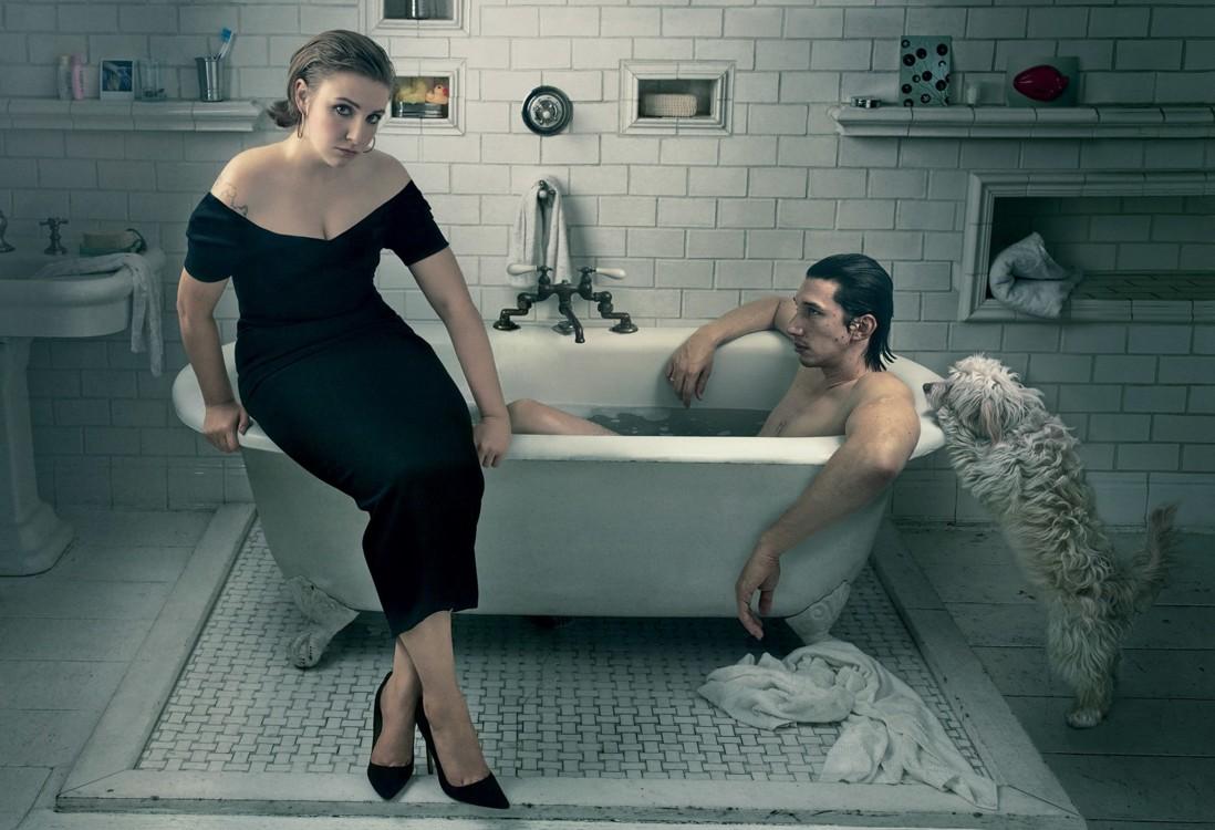 Лина Данэм и ее партнер из сериала «Девчонки» Адам Драйвер. Фото: Энни Лейбовиц, Vogue, 2014