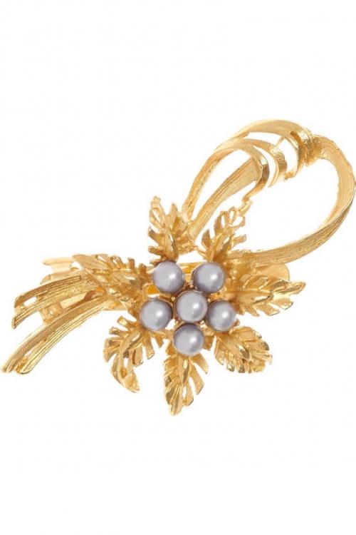 Золотистая заколка с искусственным жемчугом, Dolce & Gabbana