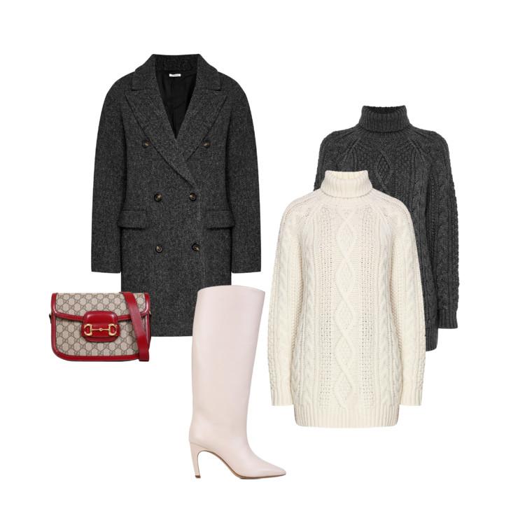 Пальто и свитеры - P.A.R.O.S.H., сапоги Gia Borghini, сумка Gucci