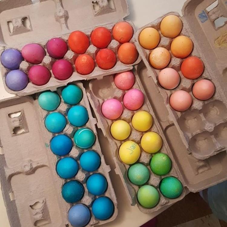 Сара Джессика Паркер раскрасила яйца во все цвета радуги