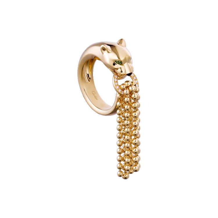 Кольцо Panthère de Cartier: желтое золото, гранаты-цавориты, оникс, бриллианты