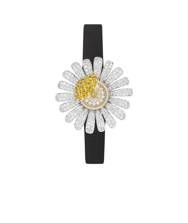 Часы Marguerite Secrète, корпус и безель из желтого золота, лепестки из белого золота, бриллианты и желтые сапфиры, браслет из сатиновой ленты, Van Cleef & Arpels