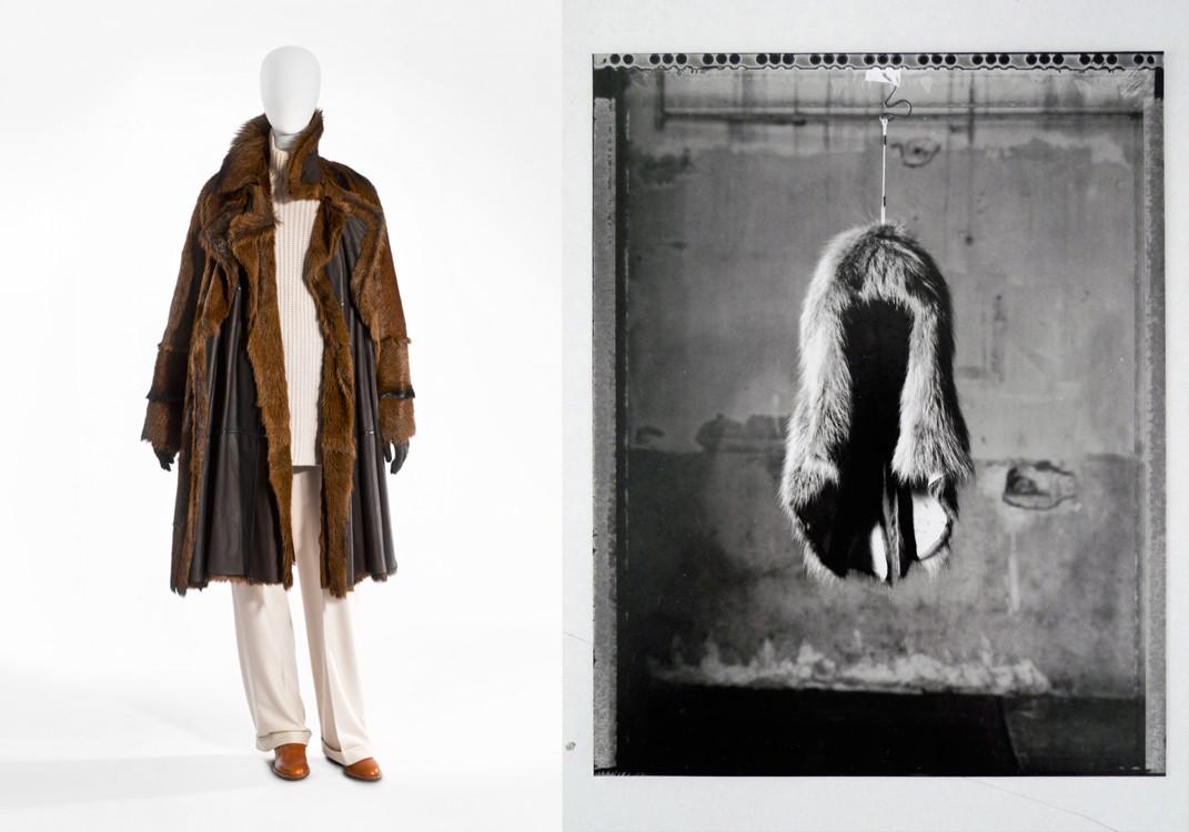 Hermès, осень-зима 2001-2002, два пальто из кожи, пуловер из кашемира, брюки из кашемировой фланели, ботинки и перчатки из кожи, фото Stany Dederen --- Maison Martin Margiela, осень-зима 1997-1998, фото Marina Faust