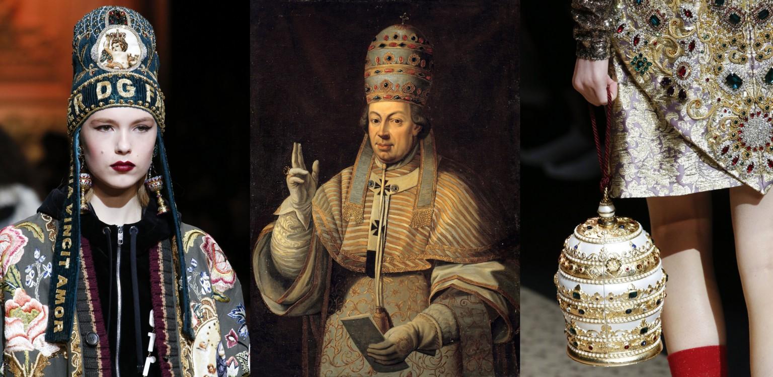 Dolce & Gabbana осень-зима 2018/2019; Портрет папы Пия VI, XVIII век
