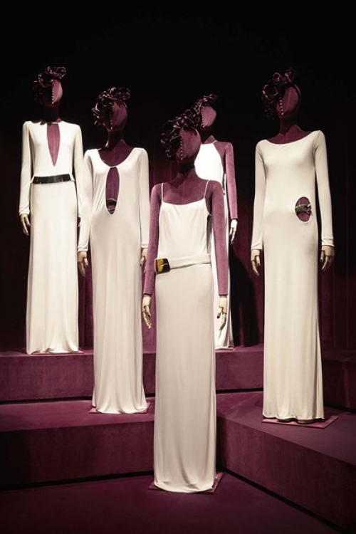 An installation of Tom Ford's white peephole-dresses that shot to fame when they appeared on the catwalk in 1997