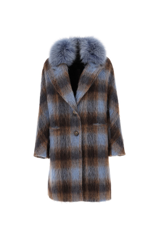 Шерстяное пальто с меховым воротником, DIEGO M