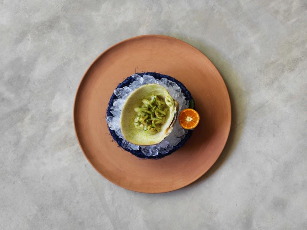 Из меню Noma Mexico: морской моллюск из моря Кортеса с пляжными травами и мандарином