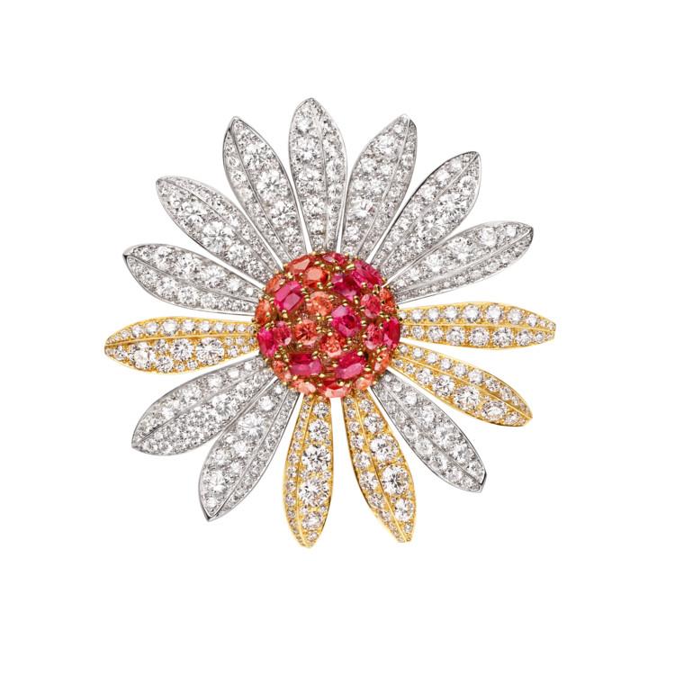 Желтое и белое золото, бриллианты, оранжевые и розовые шпинели