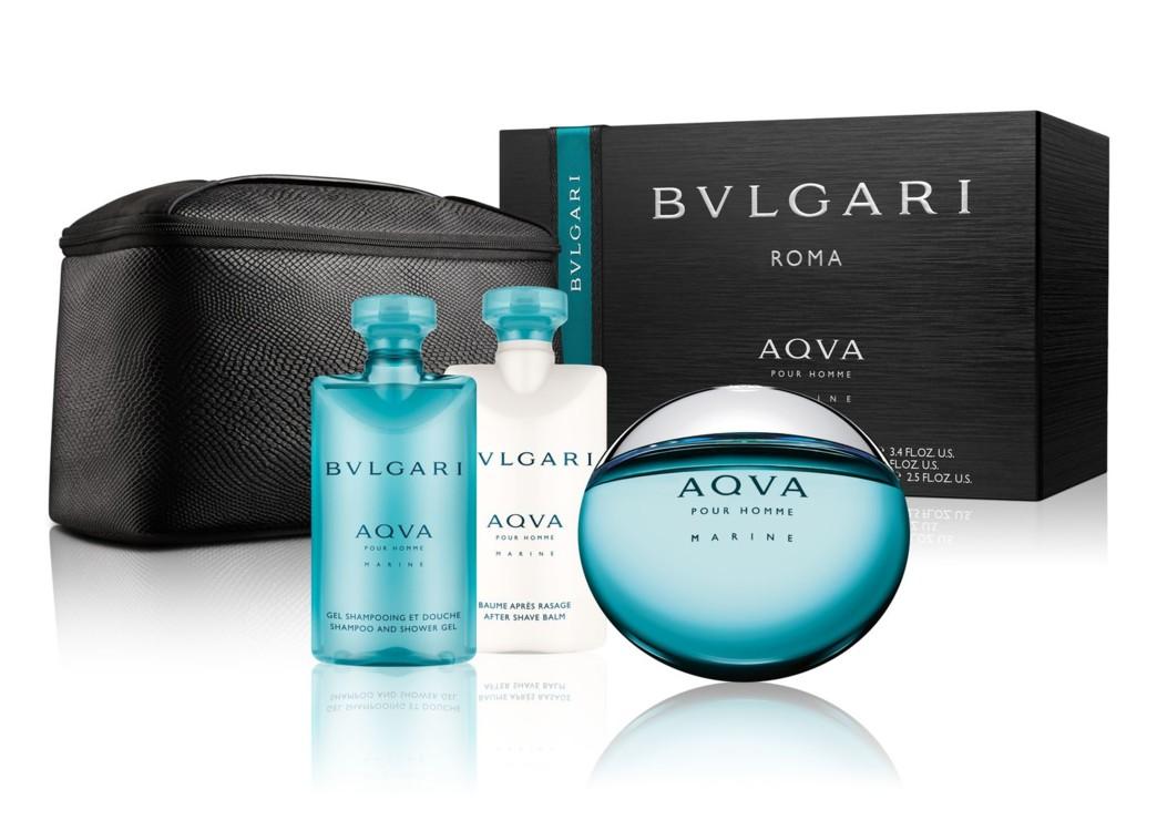 Мужской подарочный набор Bulgari Aqua Marine: шампунь и гель для душа, бальзам после бритья, туалетная вода и несессер, все – Bulgari
