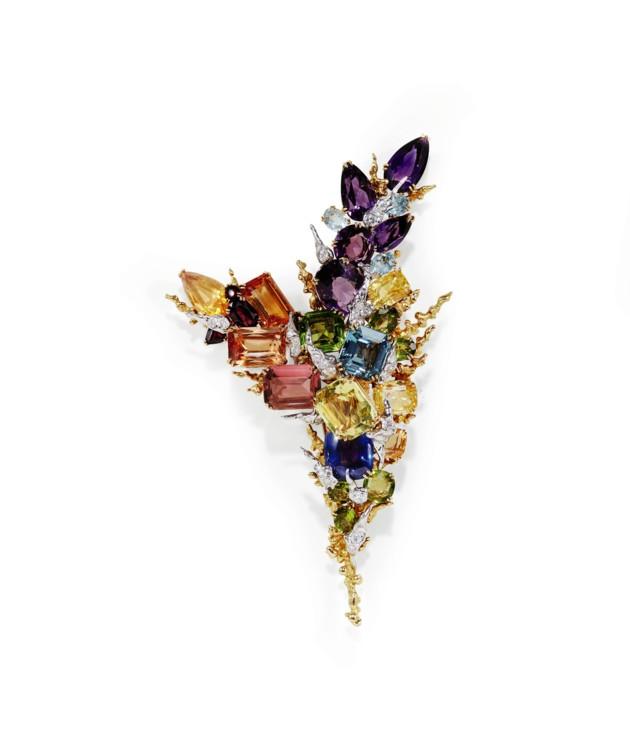 Брошка з аметистами, сапфірами, топазами, перидотами, гранатами і діамантами, Sterlé, 1960-і