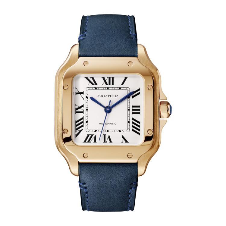 Часы Santos de Cartier, механизм с автоподзаводом, ремешок из кожи, Cartier