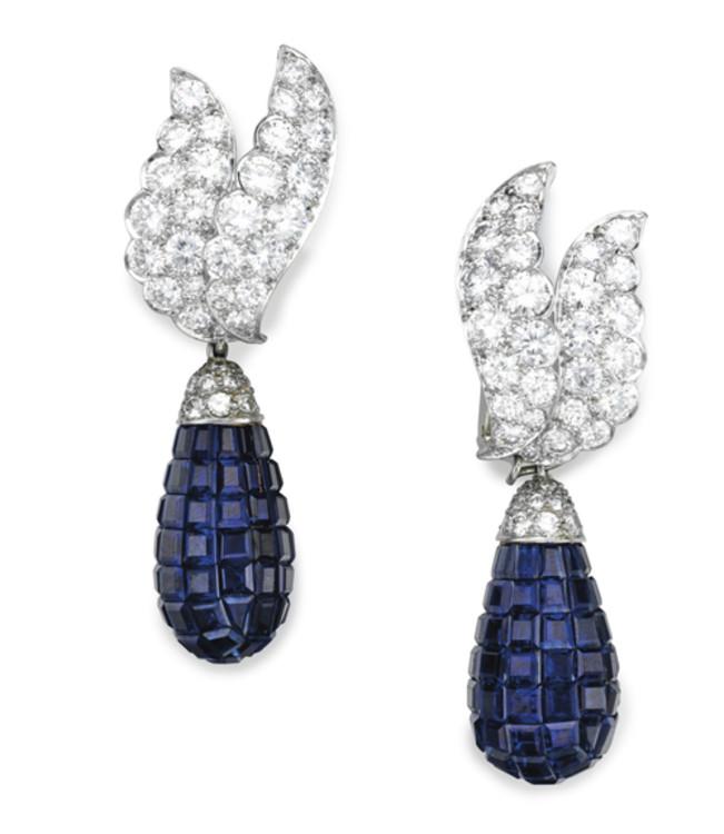 Серьги из платины с сапфирами и бриллиантами Van Cleef & Arpels, 1960-е годы