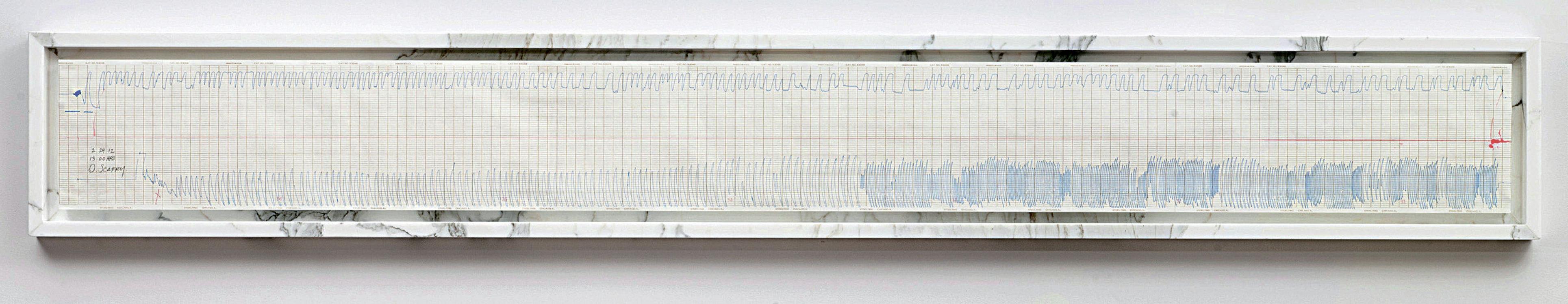 Self Graph, 2 м x 27 см x 6 см x 4 см, чернило на полиграфической бумаге, мраморная рамка, 2010