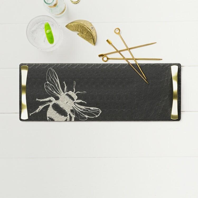"Поднос с ручками ""Бджілка"" Just Slate Engraved"