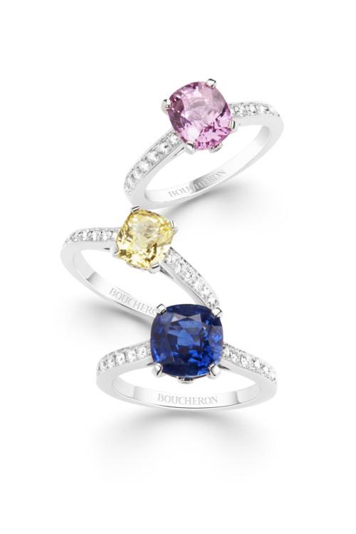 Кольца Beloved: Белое золото, розовый бриллиант, белое золото, желтый бриллиант, белое золото, сапфир, все Boucheron