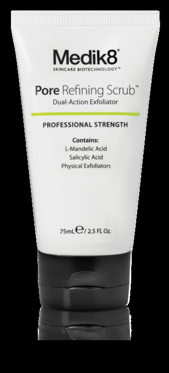 Очищающий скраб Pore Refining Scrub, Medik8. В составе - миндальная AHA-кислота, салициловая ВНА-кислота, микрочастицы водорослей, каолин, аллантоин