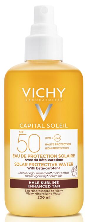 Солнцезащитный водный двухфазный спрей для лица и тела с бета-каротином для усиления загара Capital Soleil, Vichy, SPF50