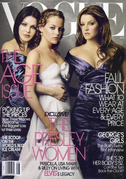 Hfqkb c матерью Лизой Марией Пресли  бабушкой Присциллой Пресли на обложке американского Vogue