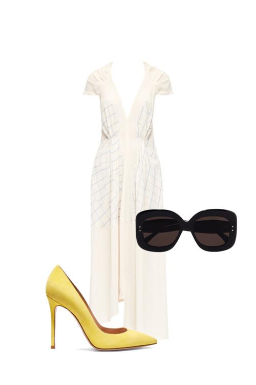 Платье, Victoria Beckham. Очки, Alai. Желтые босоножки, Gianvito Rossi