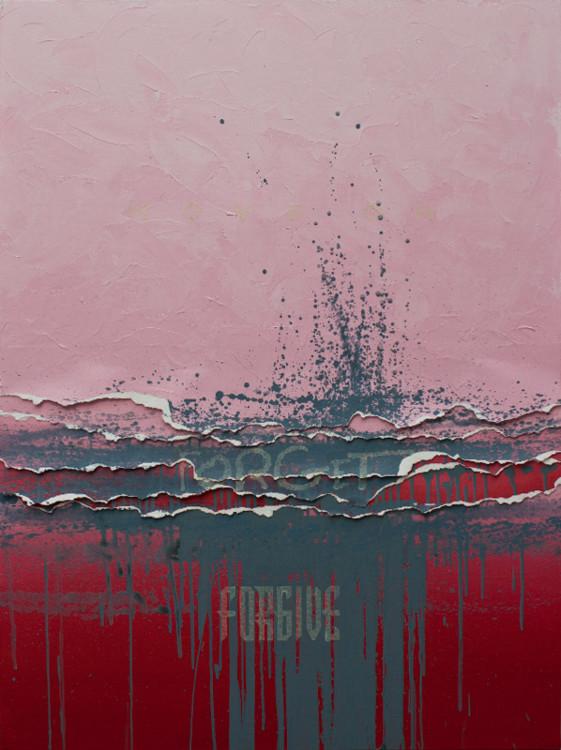 Яна Быстрова, 2015, Forgive, forget, move on, холст, акрил, фосфоресцирующие чернила, 130 × 97 см