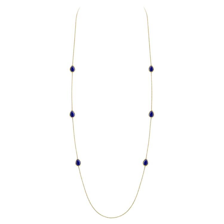 Колье Lapis Lazuli Long, желтое золото