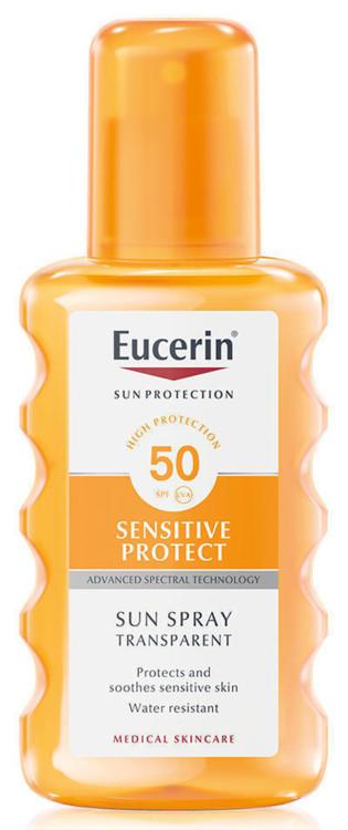 Прозорий сонцезахисний спрей Sensitive Protect, Eucerin, SPF 50+ UVA