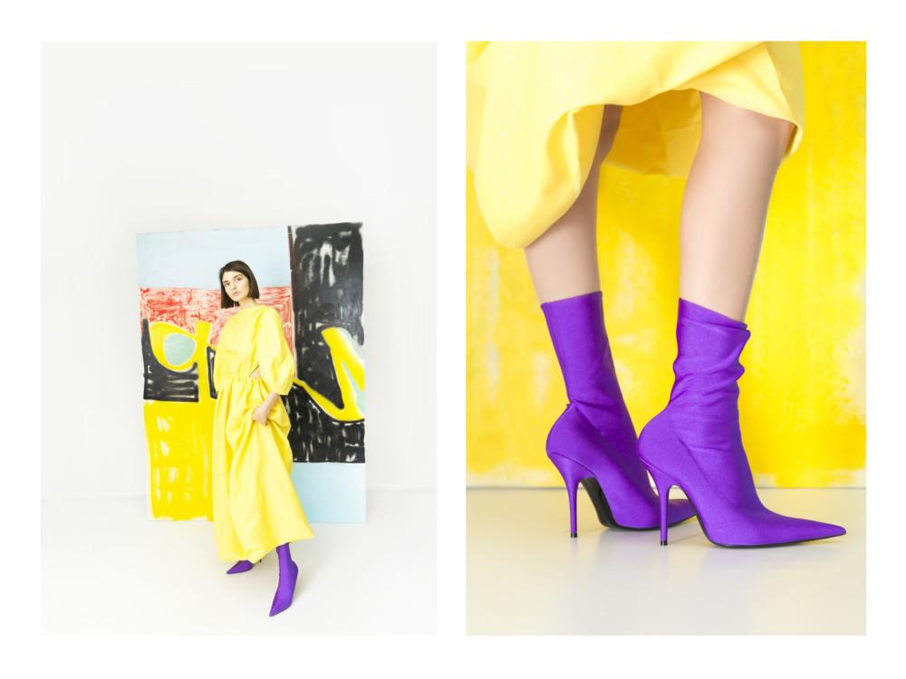 Платье Celine, ботильоны Balenciaga
