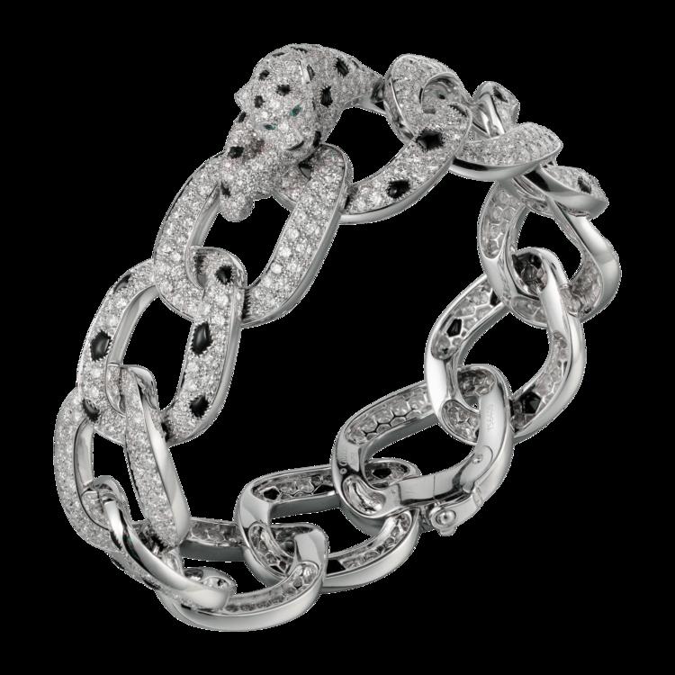 Браслет High Jewelry Panthere de Cartier, белое золото, бриллианты, оникс