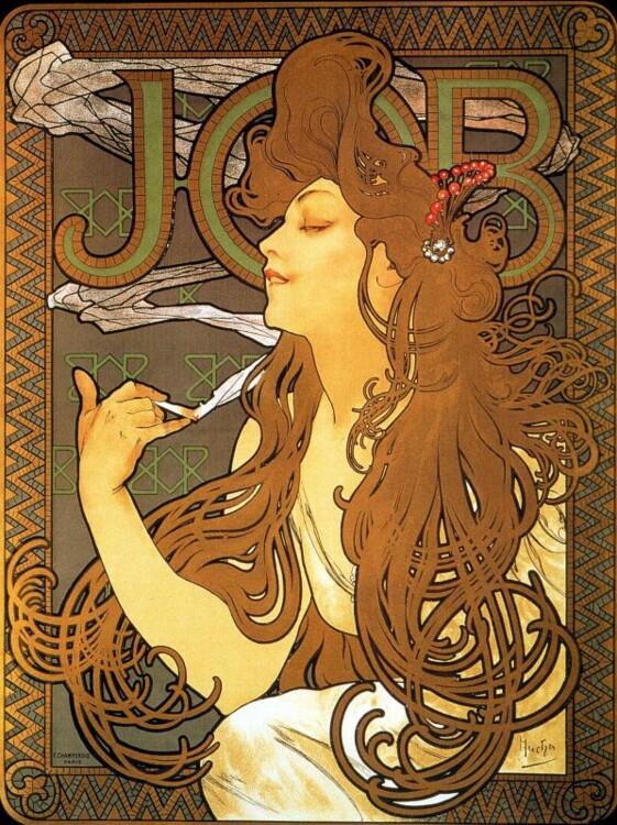 """«Рекламный плакат папиросной бумаги """"Джоб""""», 1896"""