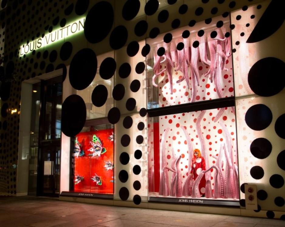 Бутик Louis Vuitton в горошке Кусамы